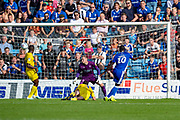 Gillingham FC forward Mikael Ndjoli  (10) scores a goal (1-0) during the EFL Sky Bet League 1 match between Gillingham and Wycombe Wanderers at the MEMS Priestfield Stadium, Gillingham, England on 14 September 2019.