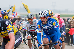 Philippe Gilbert (BEL) of Deceuninck - Quick Step (WT) and Peter Sagan (SVK) of BORA - hansgrohe (WT) during the 2019 Paris-Roubaix (1.UWT) with 257 km racing from Compiègne to Roubaix, France. 14th april 2019. Picture: Pim Nijland | Peloton Photos  <br /> <br /> All photos usage must carry mandatory copyright credit (Peloton Photos | Pim Nijland)