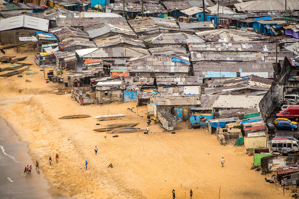 An aerial view of the slums and the beach in the city of Monrovia, Liberia.