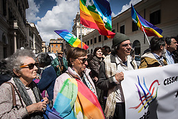 April 13, 2018 - Rome, Italy, Italy - The message that the Network for Peace is launching today from Piazza Santi Apostoli in Rome, in a press conference organized in the street, with the support of many associations: including the Alliance of Six, the Table of Peace, trade unions (Cgil, Cisl and Uil), Pax Christi, the International House of Women, the Abel Group, Archives, Unbalance. ''We appeal to politics, because the Mediterranean and the Middle East are now a battlefield, now there is the risk of a new conflict involving the world superpowers on April 13, 2018 in Rome, Italy  (Credit Image: © Andrea Ronchini/NurPhoto via ZUMA Press)