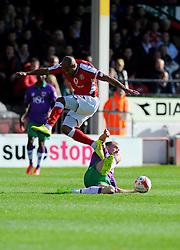 Bristol City's Aaron Wilbraham tackles Walsall's Adam Chambers - Photo mandatory by-line: Joe Meredith/JMP - Mobile: 07966 386802 - 04/10/2014 - SPORT - Football - Walsall - Bescot Stadium - Walsall v Bristol City - Sky Bet League One