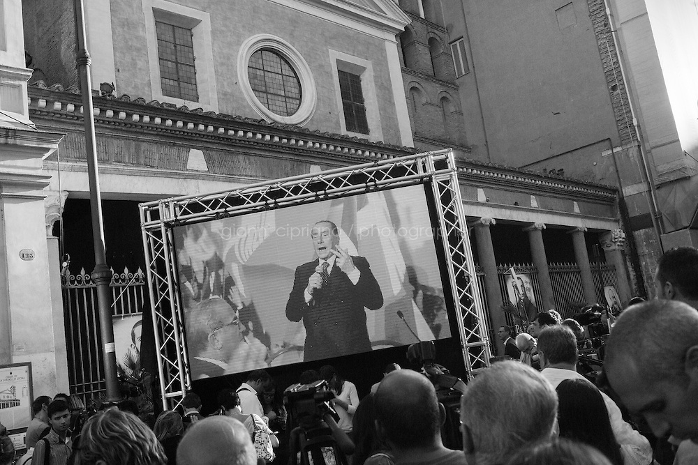 ROME, ITALY - 19 September 2013: Inauguration of the new headquarters of Silvio Berlusconi's Forza Italia party, in Piazza di San Lorenzo in Lucina, in Rome, Italy, on September 19th 2013.<br /> <br /> The party Forza Italia, consisting of the current People of Freedom (PdL), would be a revival of a party with the same name, active from 1994 to 2009, when it was merged with National Alliance (AN) and several minor parties to form the Popolo della Libert&agrave; (PdL). As in 1994, the party's leader will be Silvio Berlusconi, four-times Prime Minister of Italy.