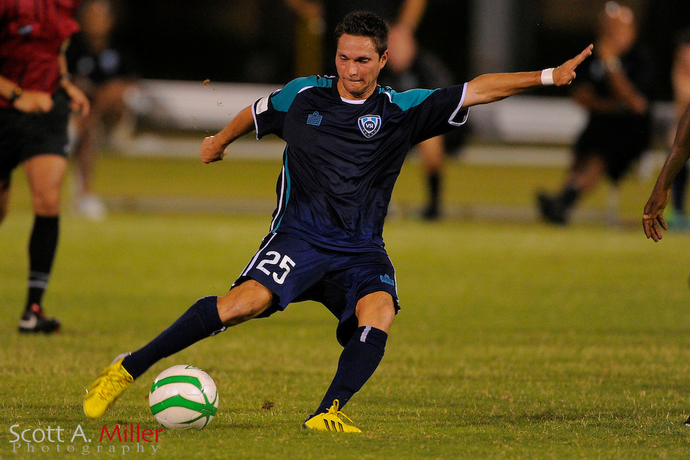 VSI Tampa Bay FC forward Chad Burt (25) in action against Antigua Barracuda in a USL Pro soccer match at Plant City stadium in Plant City, Florida on June 7, 2013. VSI won 8-0.<br /> <br /> &copy;2013 Scott A. Miller