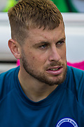 Adam Webster (Brighton) on the bench after warming up before the Premier League match between Brighton and Hove Albion and Southampton at the American Express Community Stadium, Brighton and Hove, England on 24 August 2019.