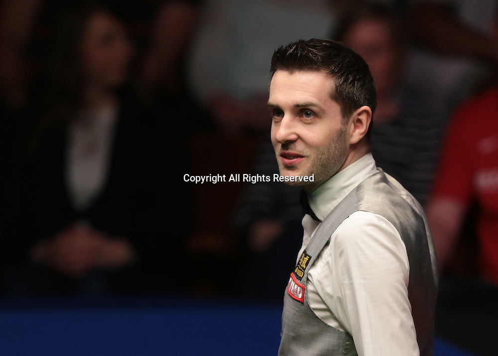 30.04.2016. The Crucible, Sheffield, England. World Snooker Championship. Semi Final, Mark Selby versus Marco Fu.  Mark Selby reacts to his long pot