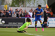 AFC Wimbledon striker Lyle Taylor (33) shot and just offside during the EFL Sky Bet League 1 match between AFC Wimbledon and Peterborough United at the Cherry Red Records Stadium, Kingston, England on 17 April 2017. Photo by Matthew Redman.