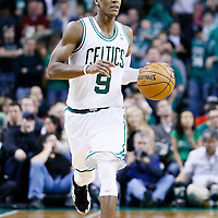 21 December 2012: Boston Celtics point guard Rajon Rondo (9) brings the ball upcourt during the Milwaukee Bucks 99-94 overtime victory over the Boston Celtics at the TD Garden, Boston, Massachusetts, USA.