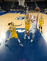 Virginia forward/center Abby Robertson (30) beats UCSB center Jessie Goble (25) to the basket.  The #4 seed/#24 ranked Virginia Cavaliers defeated the #13 seed Santa Barbara Gauchos 86-52 in the first round of the 2008 NCAA Division 1 Women's Basketball Championship at the Ted Constant Convocation Center in Norfolk, VA on March 23, 2008