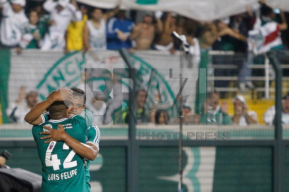 SAO PAULO, SP 12 JULHO 2013 - PALMEIRAS X ABC - RN - O jogador Luis Felipe comemora segundo gol da partida de Palmeiras x ABC - RN, no Estádio do Pacaembú, em São Paulo. foto: Paulo Fischer/Brazil Photo Press.