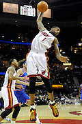 Feb 4, 2010; Cleveland, OH, USA; Miami Heat forward Dorell Wright (1) pulls down a rebound during the first quarter against the Cleveland Cavaliers at Quicken Loans Arena. Mandatory Credit: Jason Miller-US PRESSWIRE