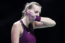 October 21, 2018 - Singapore, Singapore - Petra Kvitova of the Czech Republic reacts to loosing a point during the match between Petra Kvitova and Elina Svitolina on day 1 of the WTA Finals at the Singapore Indoor Stadium. (Credit Image: © Paul Miller/ZUMA Wire)