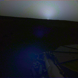 May 1, 2019 - Mars Surface - NASA's InSight lander used the Instrument Deployment Camera (IDC) on the end of its robotic arm to image this sunset on Mars on April 25, 2019, the 145th Martian day, or sol, of the mission. This was taken around 6:30 p.m. Mars local time. This color-corrected version more accurately shows the image as the human eye would see it. The first mission to send back such images was the Viking 1 lander, which captured a sunset on Aug. 21, 1976; Viking 2 captured a sunrise on June 14, 1978. Since then, both sunrises and sunsets have been recorded by the Spirit, Opportunity and Curiosity rovers, among other missions. (Credit Image: © JPL-Caltech/NASA via ZUMA Wire/ZUMAPRESS.com)