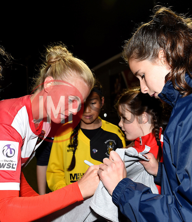 Sophie Ingle of Bristol Academy Women signing autographs - Mandatory by-line: Paul Knight/JMP - Mobile: 07966 386802 - 04/10/2015 -  FOOTBALL - Stoke Gifford Stadium - Bristol, England -  Bristol Academy Women v Liverpool Ladies FC - FA Women's Super League