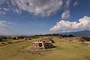 The buildings in the Grand Plaza of Monte Albán pre-Columbian archaeological site in the Santa Cruz Xoxocotlán, Oaxaca, Mexico.