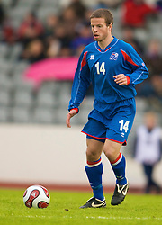 REYKJAVIK, ICELAND - Wednesday, May 28, 2008: Iceland's Jonas Gudni Saevarsson in action against Wales during the international friendly match at the Laugardalsvollur Stadium. (Photo by David Rawcliffe/Propaganda)