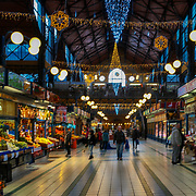 BUDAPEST, HUNGARY - DECEMBER 07:  A general view of the Christmas decorated Great Market Hall on December 7, 2017 in Budapest, Hungary. The traditional Christmas market and lights will stay until 31st December 2017.