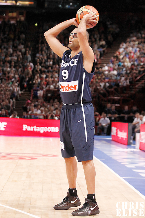 15 July 2012: Tony Parker of Team France looks to pass the ball during a pre-Olympic exhibition game won 75-70 by Spain over France, at the Palais Omnisports de Paris Bercy, in Paris, France.