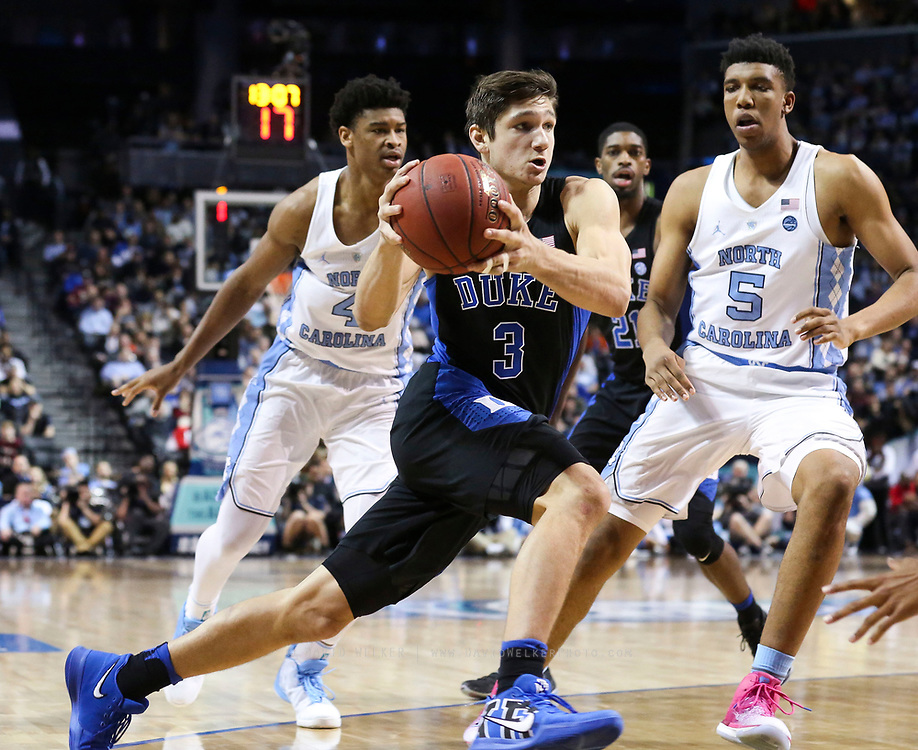 Duke guard Grayson Allen (3) drives towards the hoop during the semifinals of the 2017 New York Life ACC Tournament at the Barclays Center in Brooklyn, N.Y., Friday, March 10, 2017. (Photo by David Welker, theACC.com)