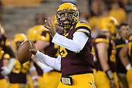 TEMPE, AZ - SEPTEMBER 03:  Quarterback Manny Wilkins #5 of the Arizona State Sun Devils warms up prior to the game against the Northern Arizona Lumberjacks at Sun Devil Stadium on September 3, 2016 in Tempe, Arizona.  (Photo by Jennifer Stewart/Getty Images)