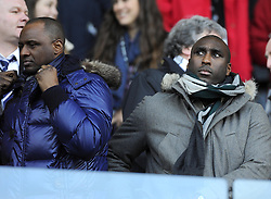 Former Arsenal team mates, Patrick Viera (left) and Sol Campbell (right) - Photo mandatory by-line: Joe Meredith/JMP - Tel: Mobile: 07966 386802 19/01/2014 - SPORT - FOOTBALL - Liberty Stadium - Swansea - Swansea City v Tottenham Hotspur - Barclays Premier League