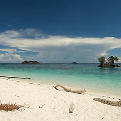 Beautiful white sandy beach in Misool area, West-Papua.
