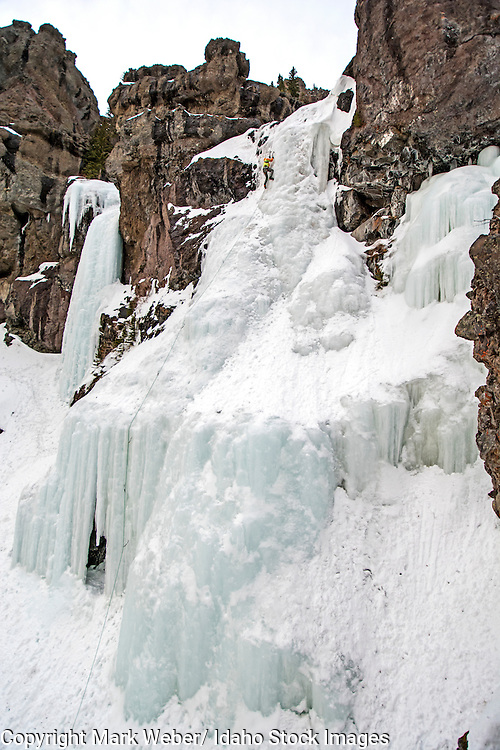 Elijah Weber ice climbing a route called Mummy Cooler II which is rated WI-3 and located in Hyalite Canyon in the Gallatin Mountains near the city of Bozeman in southern Montana