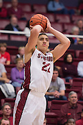 November 14, 2014; Stanford, CA, USA; Stanford Cardinal forward Reid Travis (22) shoots the basketball during the first half against the Wofford Terriers at Maples Pavilion.