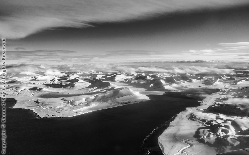 Gronfjorden, Barentsburg in the darker coal smudge on the far shore