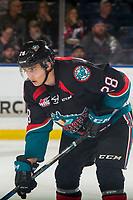 KELOWNA, CANADA - OCTOBER 23: Leif Mattson #28 of the Kelowna Rockets lines up for the face-off against the Swift Current Broncos  on October 23, 2018 at Prospera Place in Kelowna, British Columbia, Canada.  (Photo by Marissa Baecker/Shoot the Breeze)