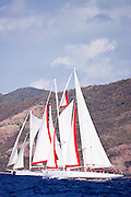 Atrevida sailing in the Old Road Race at the 2011 Antigua Classic Yacht Regatta.