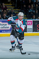 KELOWNA, CANADA - APRIL 30: Lucas Johansen #7 of the Kelowna Rockets skates with the puck against the Seattle Thunderbirds on April 30, 2017 at Prospera Place in Kelowna, British Columbia, Canada.  (Photo by Marissa Baecker/Shoot the Breeze)  *** Local Caption ***