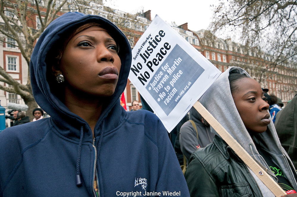 "London Solidarity Protest outside the U.S. embassy calling for 17 yr old Trayvon Martin's killer to be brought to justice. Gunned down in USA and Killer walked free on Florida's ""stand your ground"" law."