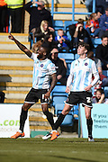 Shrewsbury Town midfielder Abu Ogogo scores (1-2) during the Sky Bet League 1 match between Gillingham and Shrewsbury Town at the MEMS Priestfield Stadium, Gillingham, England on 23 April 2016. Photo by Martin Cole.