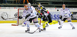 27.09.2013, Messestadion, Dornbirn, AUT, EBEL, Dornbirner EC vs EHC Liwest Black Wings Linz, 11. Runde, im Bild Curtis Murphy, (EHC Liwest Black Wings Linz, #41), Graham Mink, (Dornbirner EC, #21) und Robert Lukas, (EHC Liwest Black Wings Linz, #55) // during the Erste Bank Icehockey League 11th round match between Dornbirner EC and EHC Liwest Black Wings Linz the Exhibition Stadium, Dornbirn, Austria on 2013/09/27, EXPA Pictures © 2013, PhotoCredit: EXPA/ Peter Rinderer