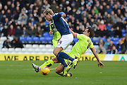 Huddersfield Town midfielder Dean Whitehead tackles Birmingham City striker Nicolai Brock-Madsen during the Sky Bet Championship match between Birmingham City and Huddersfield Town at St Andrews, Birmingham, England on 5 December 2015. Photo by Alan Franklin.