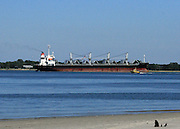 Freighter, Cargo ship on it's way to the sea.