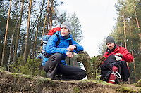 Male hikers in forest