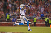 16 September 2012: Wide receiver (81) Calvin Johnson of the Detroit Lions catches a pass against the San Francisco 49ers during the second half of the 49ers 27-19 victory against the Lions in an NFL football game at Candlestick Park in San Francisco, CA.