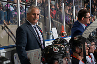 KELOWNA, BC - NOVEMBER 8: Medicine Hat Tigers' head coach, Willie Desjardins stands on the bench against the Kelowna Rockets at Prospera Place on November 8, 2019 in Kelowna, Canada. (Photo by Marissa Baecker/Shoot the Breeze)