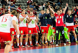 Christian Berge, head coach of Norway and other players react during handball match between National teams of Sweden and Norway on Day 7 in Main Round of Men's EHF EURO 2018, on January 24, 2018 in Arena Zagreb, Zagreb, Croatia.  Photo by Vid Ponikvar / Sportida