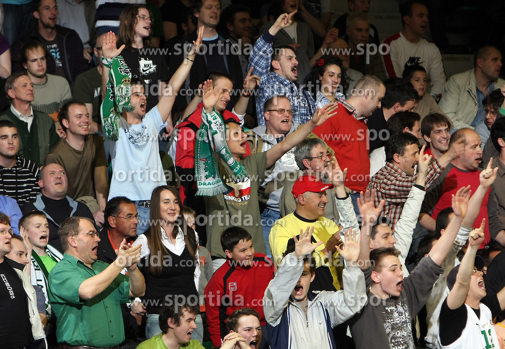 Fans of Union Olimpija during second semi-final match of Basketball NLB League at Final four tournament between KK Partizan Igokea, Beograd, Serbia and Union Olimpija, Ljubljana, Slovenia, on April 25, 2008, in Arena Tivoli in Ljubljana. Match was won by Partizan 94:90. (Photo by Vid Ponikvar / Sportal Images)