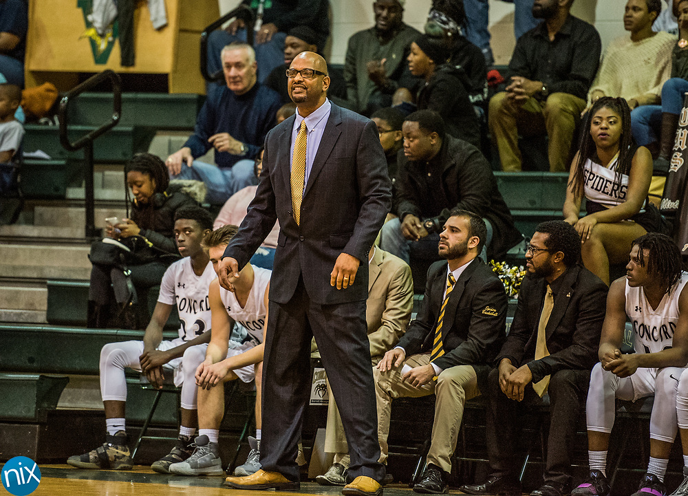 Concord head coach Jason Stowe against Kannapolis during a South Piedmont Conference basketball game Saturday night at Central Cabarrus High School.