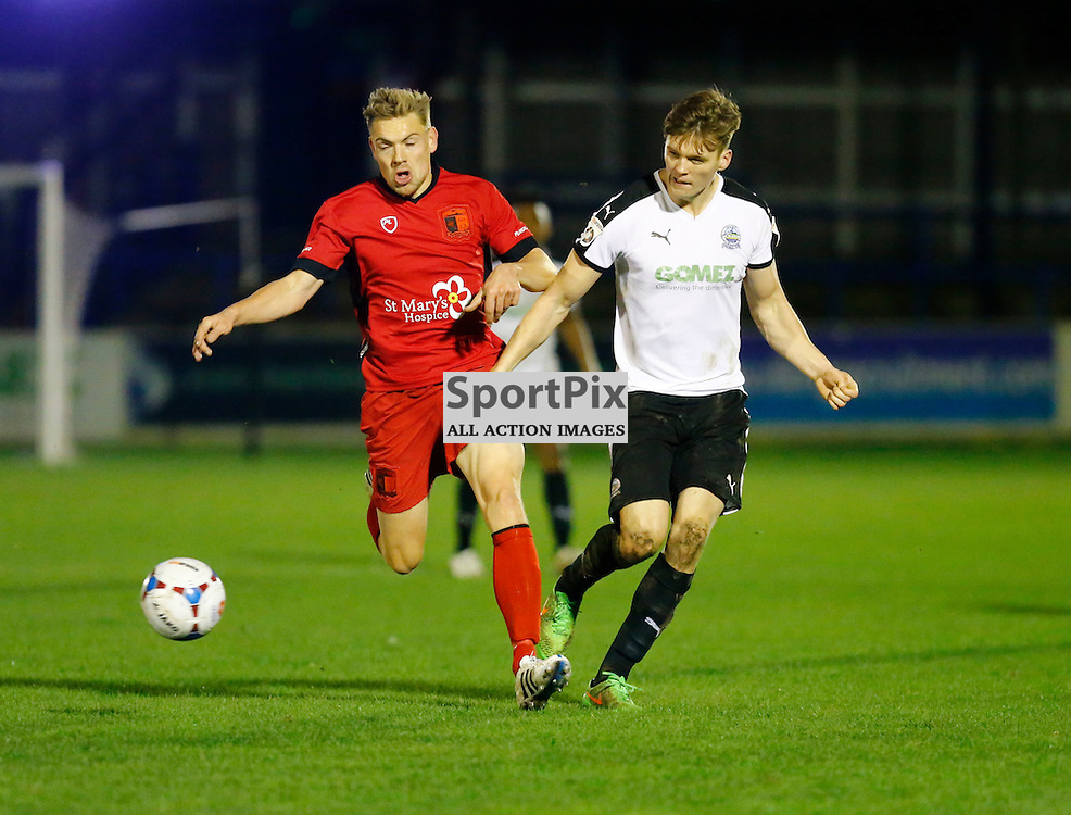Dover's defender Sean Raggett (5) makes a surge forward. Dover Athletic v Barrow. Vanarama National League. 10  November 2015. (c) Matt Bristow | SportPix.org.uk