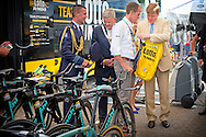 4-7-2015 UTRECHT - Koning Willem Alexander  is zaterdag 4 juli 2015 aanwezig bij Le Grand D&eacute;part van de Tour de France in Utrecht. Tour de France 2015 in Utrecht . Koning Willem-Alexander met winnaar Dennis Rohan op het podium van de tijdrit tijdens de Grand Depart van de Tour de France. met Joop zoetemelk en Koning Willem-Alexander met Joop Zoetemelk (L) en Jan Janssen tijdens de Grand Depart van de Tour de France. en Jan van Zanen . COPYRIGHT ROBIN UTRECHT <br /> 4-7-2015 UTRECHT - King Willem Alexander is Saturday, July 4th, 2015 attends the Le Grand D&eacute;part of the Tour de France in Utrecht. Tour de France 2015 in Utrecht. King Willem-Alexander winner with Dennis Rohan on the stage of the trial during the Grand Depart of the Tour de France.COPYRIGHT ROBIN UTRECHT