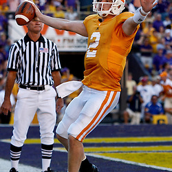 Oct 2, 2010; Baton Rouge, LA, USA; Tennessee Volunteers quarterback Matt Simms (2) scores a touchdown against the LSU Tigers during the second half at Tiger Stadium. LSU defeated Tennessee 16-14.  Mandatory Credit: Derick E. Hingle
