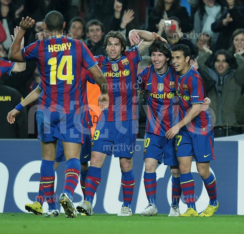 FUSSBALL  International  Champions   League  Rueckspiel   SAISON 2009/2010    FC Barcelona - VfB Stuttgart       17.03.2010 JUBEL Barca; Thierry Henry, Maxwell,  Torschuetze zum 1-0 Lionel Messi und Pedro Rodriguez (v.li.)