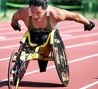 Freddy Sandoval of Mexico competes in a 400-meter track event during the U.S. Paralympics Track and Field National Championships at Lakewood Stadium in Atlanta on Saturday, July 1, 2006. The Paralympics event is the qualifier to gain entry on the U.S. Team for the International Paralympic Committee Athletics Championships in Switzerland.