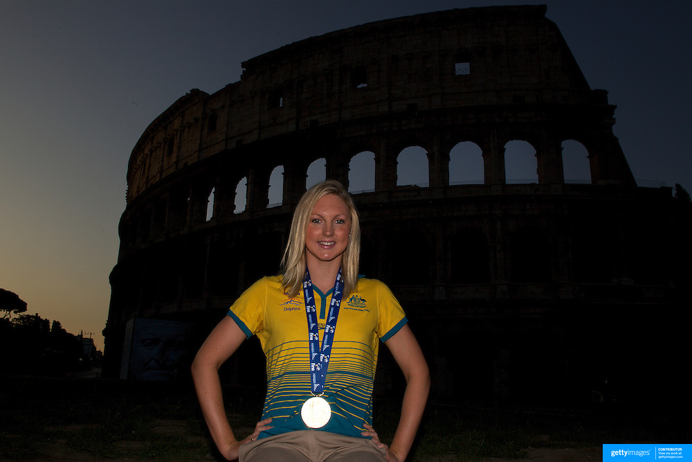 Australian Gold medal winner Melissa Gorman during a 6am photo shoot outside the Coloseum in Rome, Italy on Monday, August 3, 2009. Photo Tim Clayton.