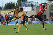 Michael Rose of Morecambe blocks a shot during the EFL Sky Bet League 2 match between Morecambe and Newport County at the Globe Arena, Morecambe, England on 16 September 2017. Photo by Mick Haynes.