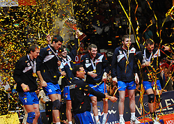 18.09.2011, Stadthalle, Wien, AUT, CEV, Europaeische Volleyball Meisterschaft 2011, Finale, Italien vs Serbien, im Bild Jubel Serbien, vl. Milos Terzic, (SRB, #6, Wing-Spiker), Sasa Starovic, (SRB, #15, Opposite), Nikola Rosic, (SRB, #19, Libero 1), Filip Cujic, (SRB, #8, Libero 2), Nikola Kovacevic, (SRB, #1, Wing-Spiker), Uros Kovacevic, (SRB, #2, Wing-Spiker) und Vlado Petkovic, (SRB, #5, Setter) // during the european Volleyball Championship Final Italy vs Serbia, at Stadthalle, Vienna, 2011-09-18, EXPA Pictures © 2011, PhotoCredit: EXPA/ M. Gruber